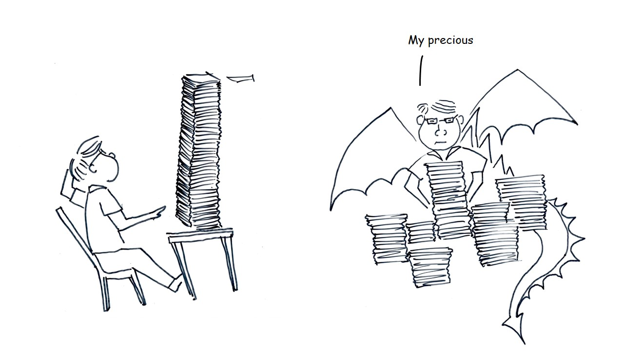 Illustration of person sitting on a chair in front of a huge pile of files