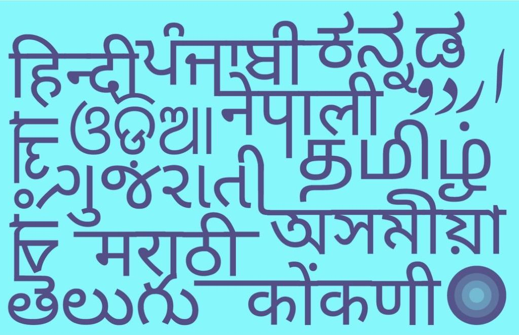 Graphic with different Indian languages