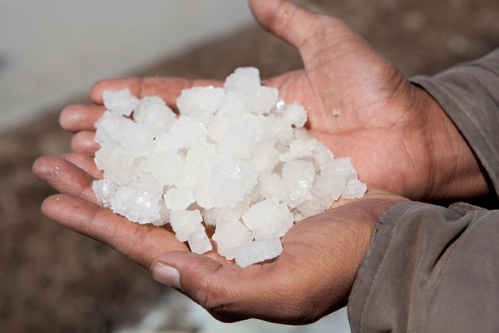 Salt in the hands of a salt farmer