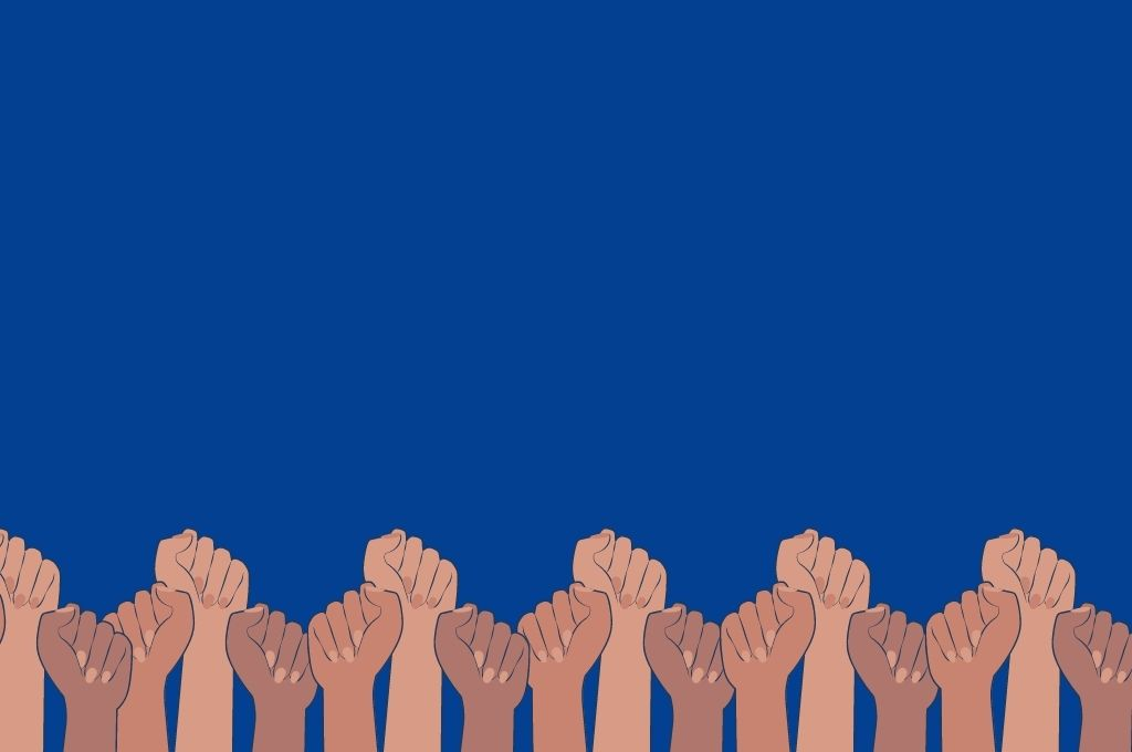 A graphic of women with raised fists, against a blue background