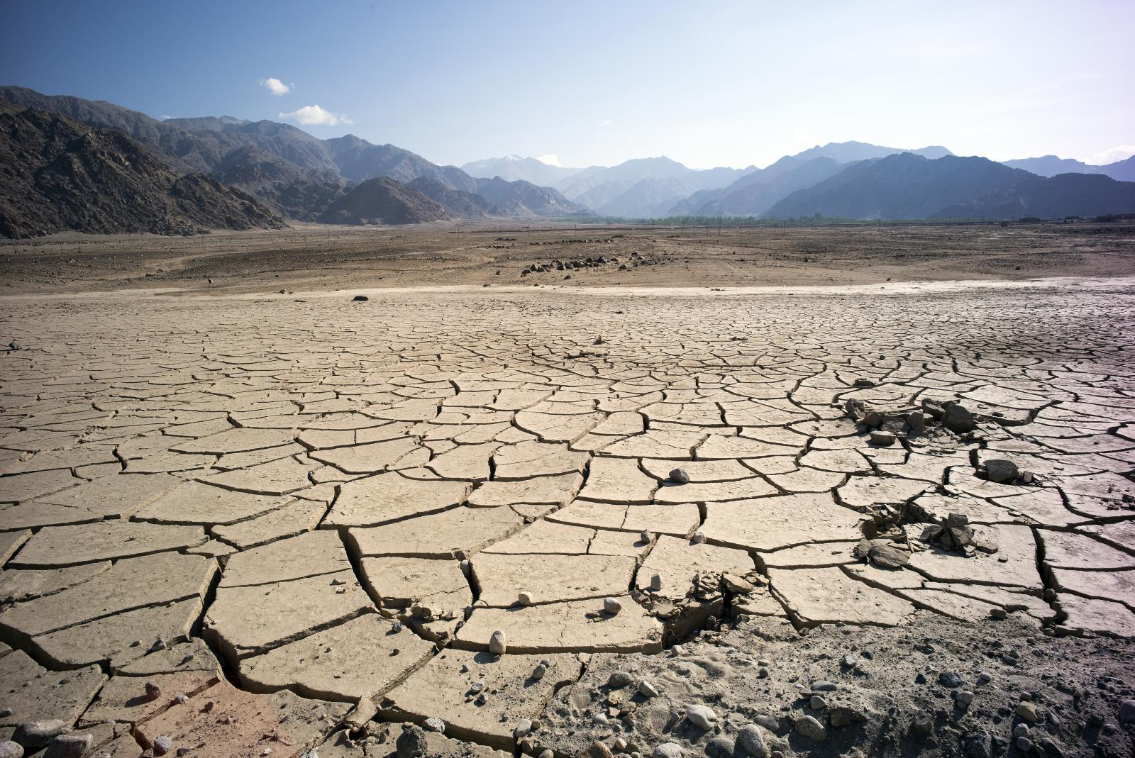 A stretch of land in ladakh, india with cracks on the surface to show dehydration
