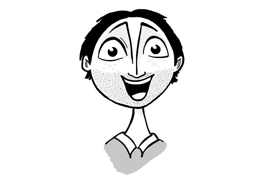 Cartoon closeup of a man