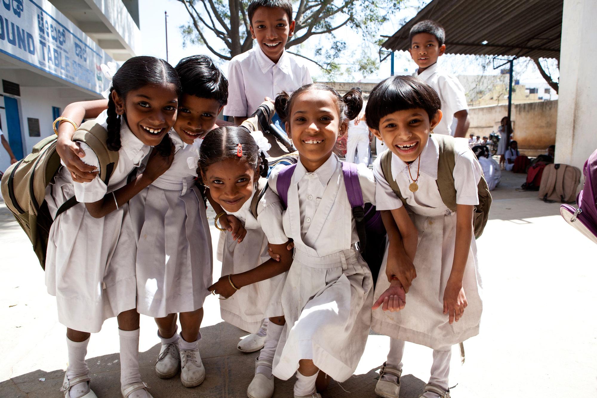 happy kids in school