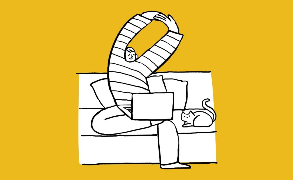 Graphic of a person with their laptop relaxing on the couch