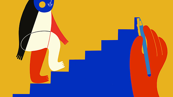 abstract illustration of person walking up stairs-wellbeing