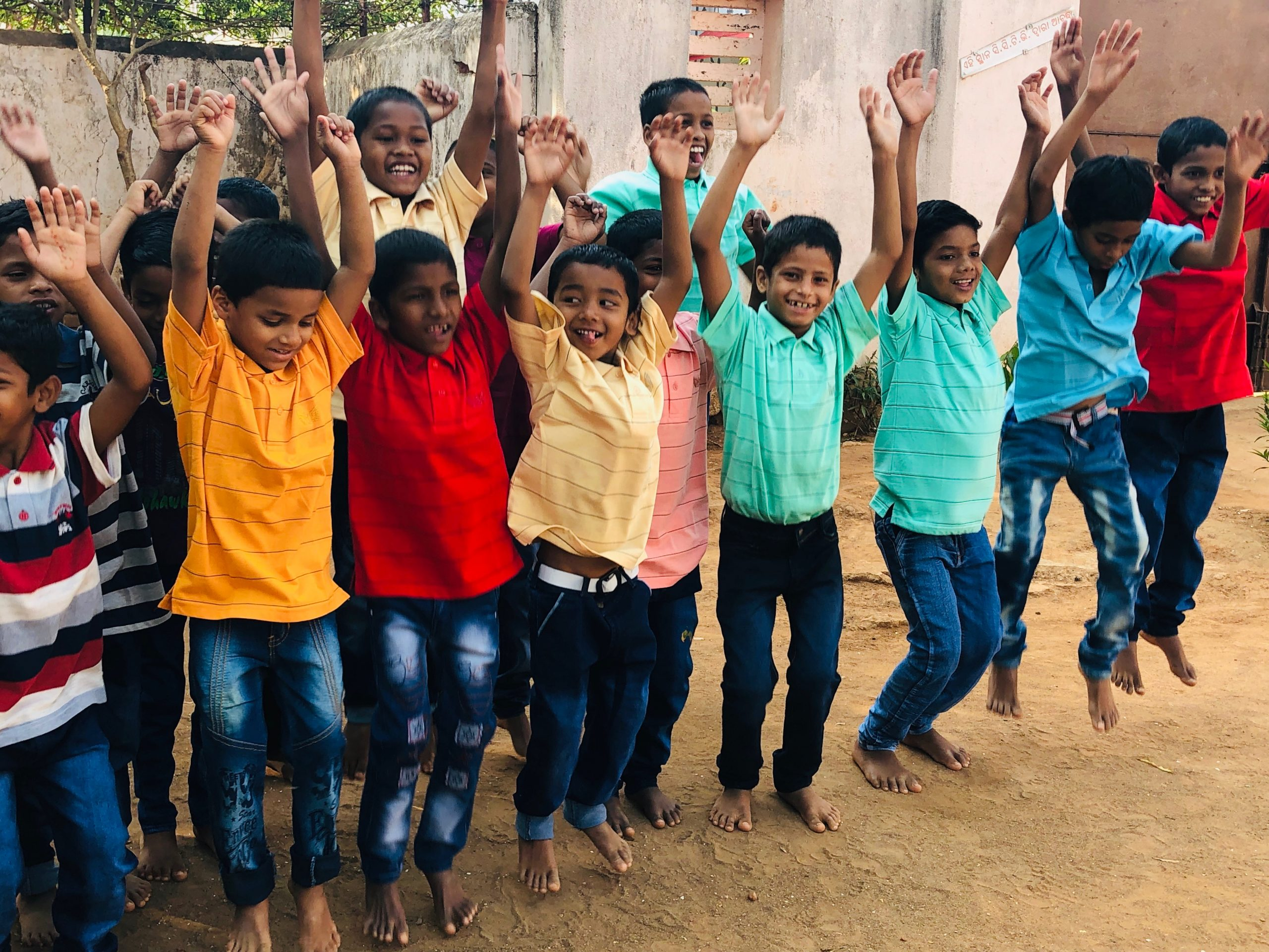 A group of young boys in a child care institution in India