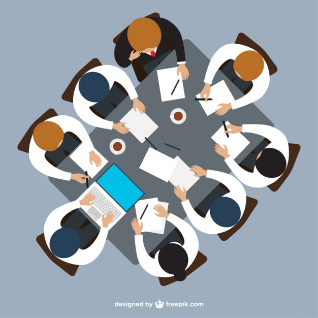 Top view illustration of donor meetings