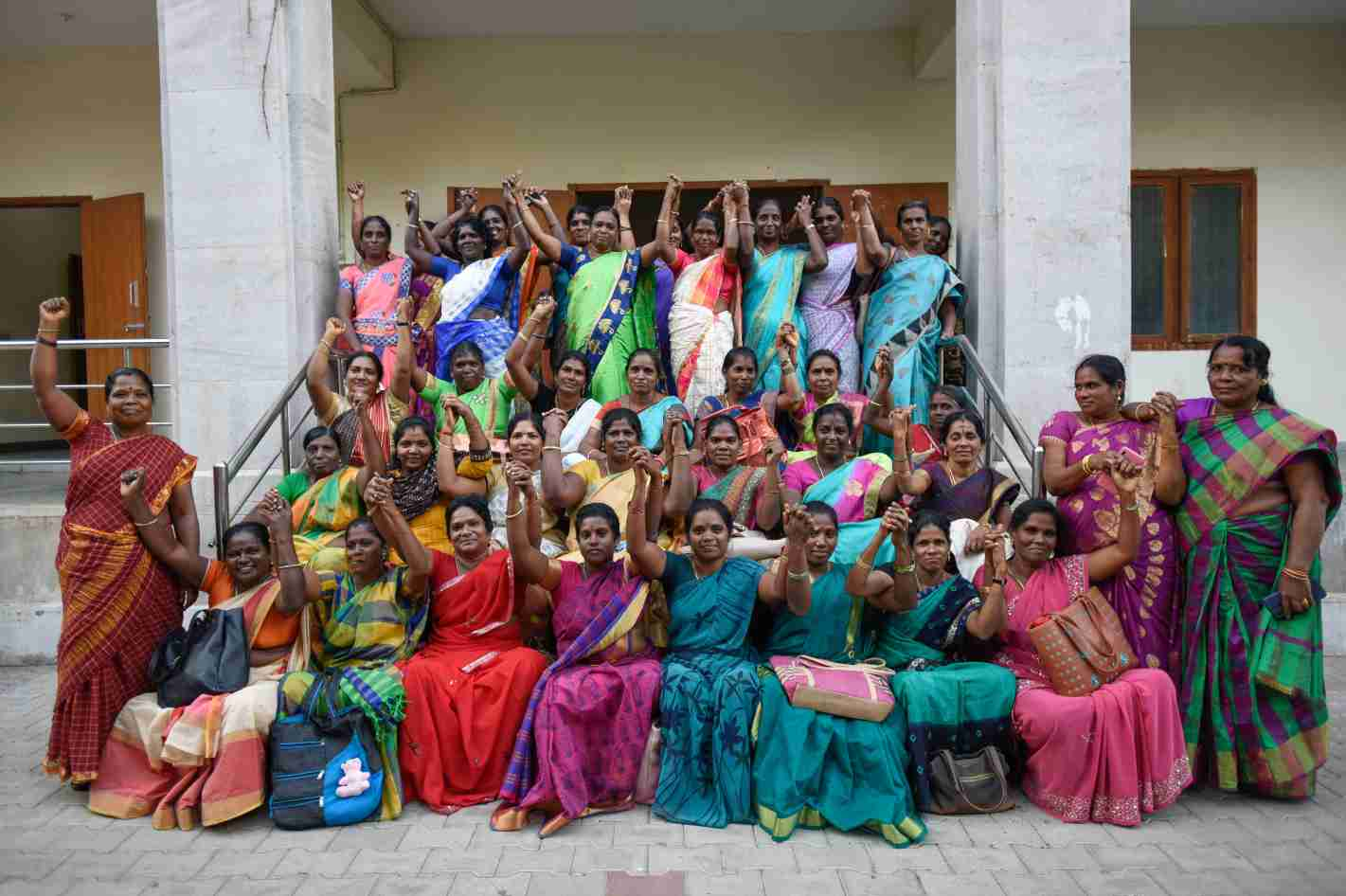 Anganwadi workers convey their unity among themselves and for their fight for rights-resilient movements