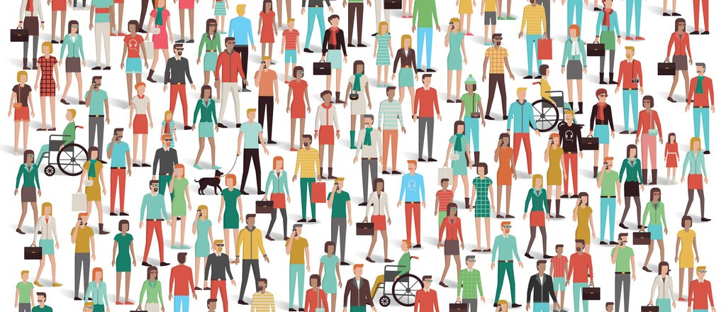 A diverse group of people (animated)