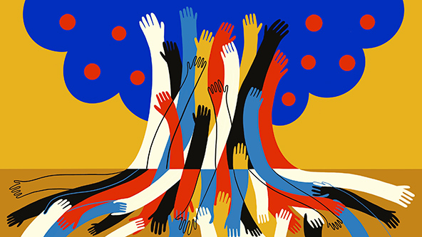 abstract illustration showing a number of hands coming together to form a tree-wellbeing