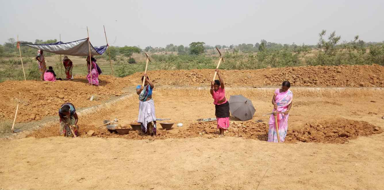 women labourers working in a field-MGNREGA