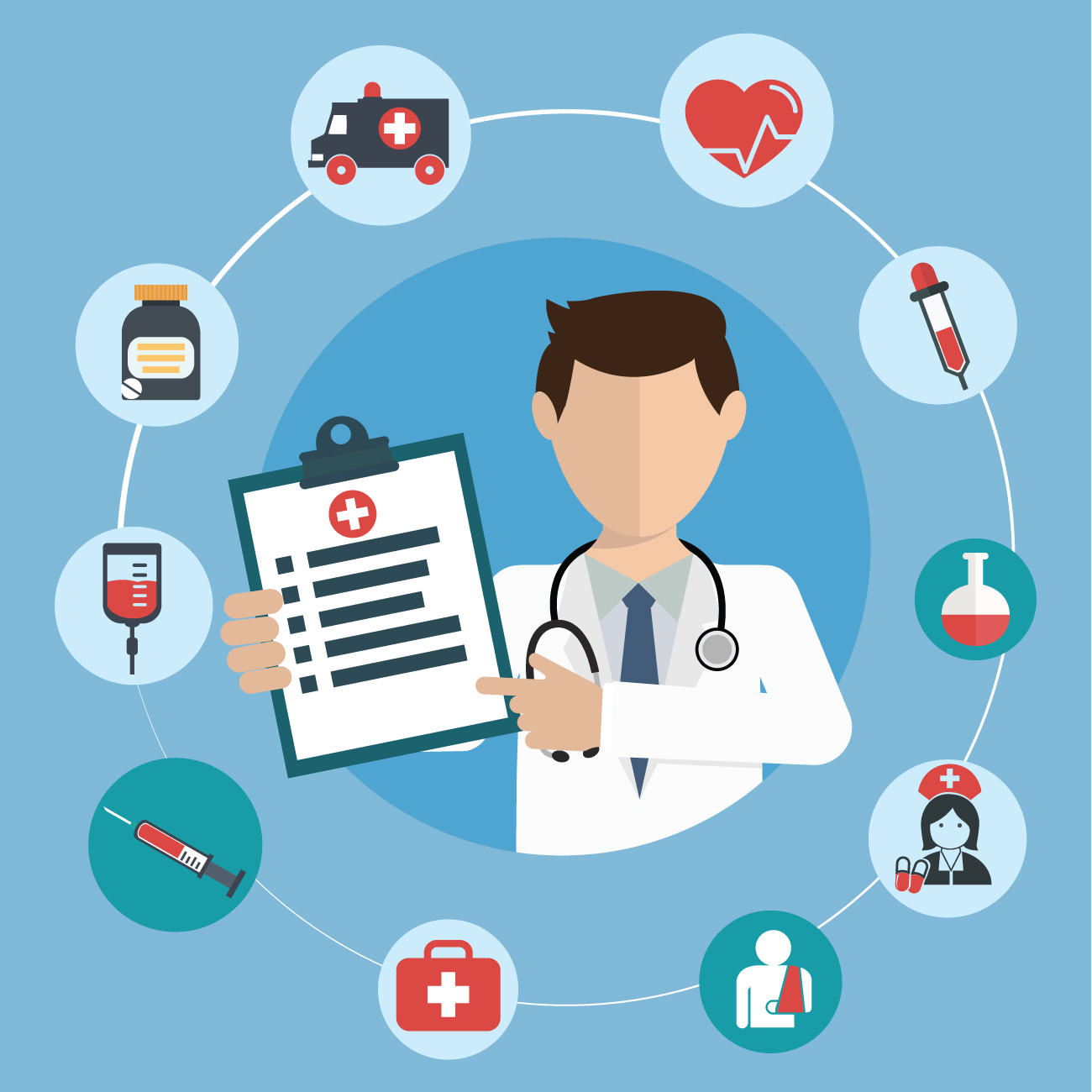 A doctor with a medical checklist