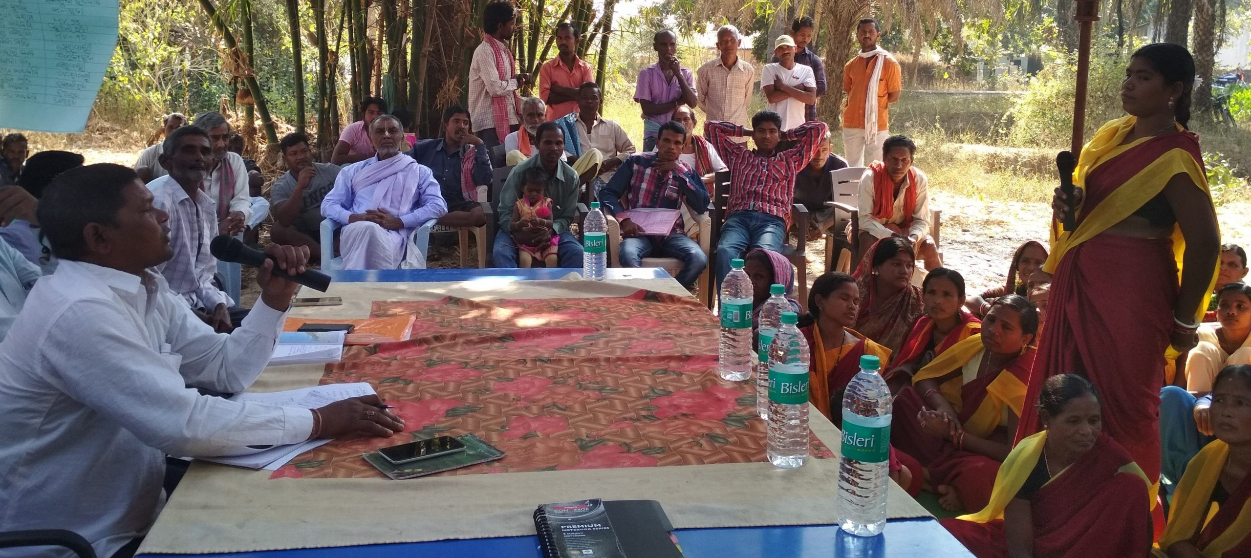 Village panchayat having a discussion