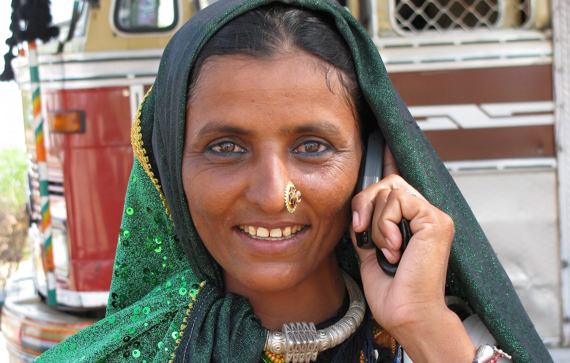 rural woman talking on the phone