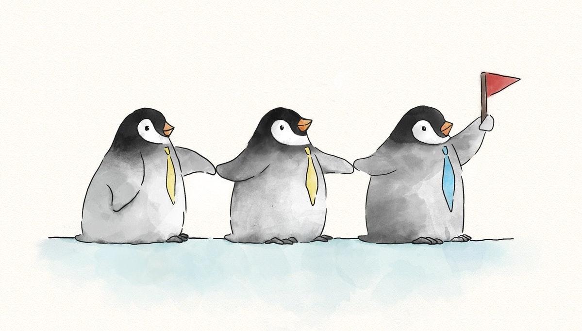 three penguins in ties
