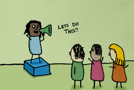 illustration with stick figures in which one figure is announcing 'let's do this' to three other figures
