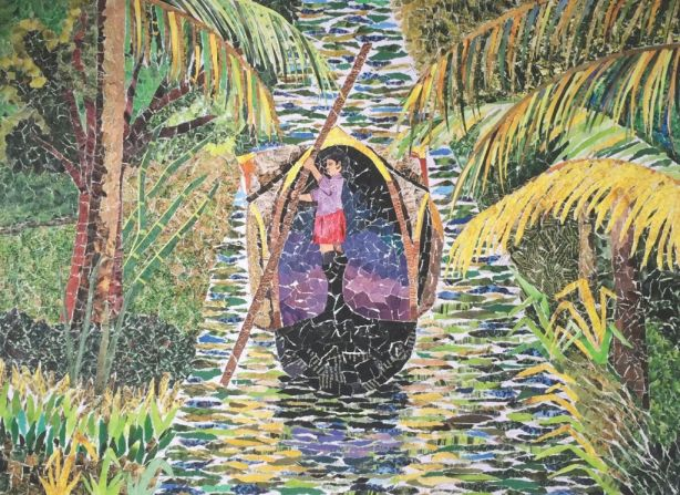 art showing rowing a boat in backwaters_wellbeing_aseema