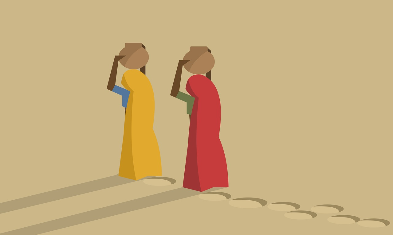 illustration of two women carrying water in a desert-labour