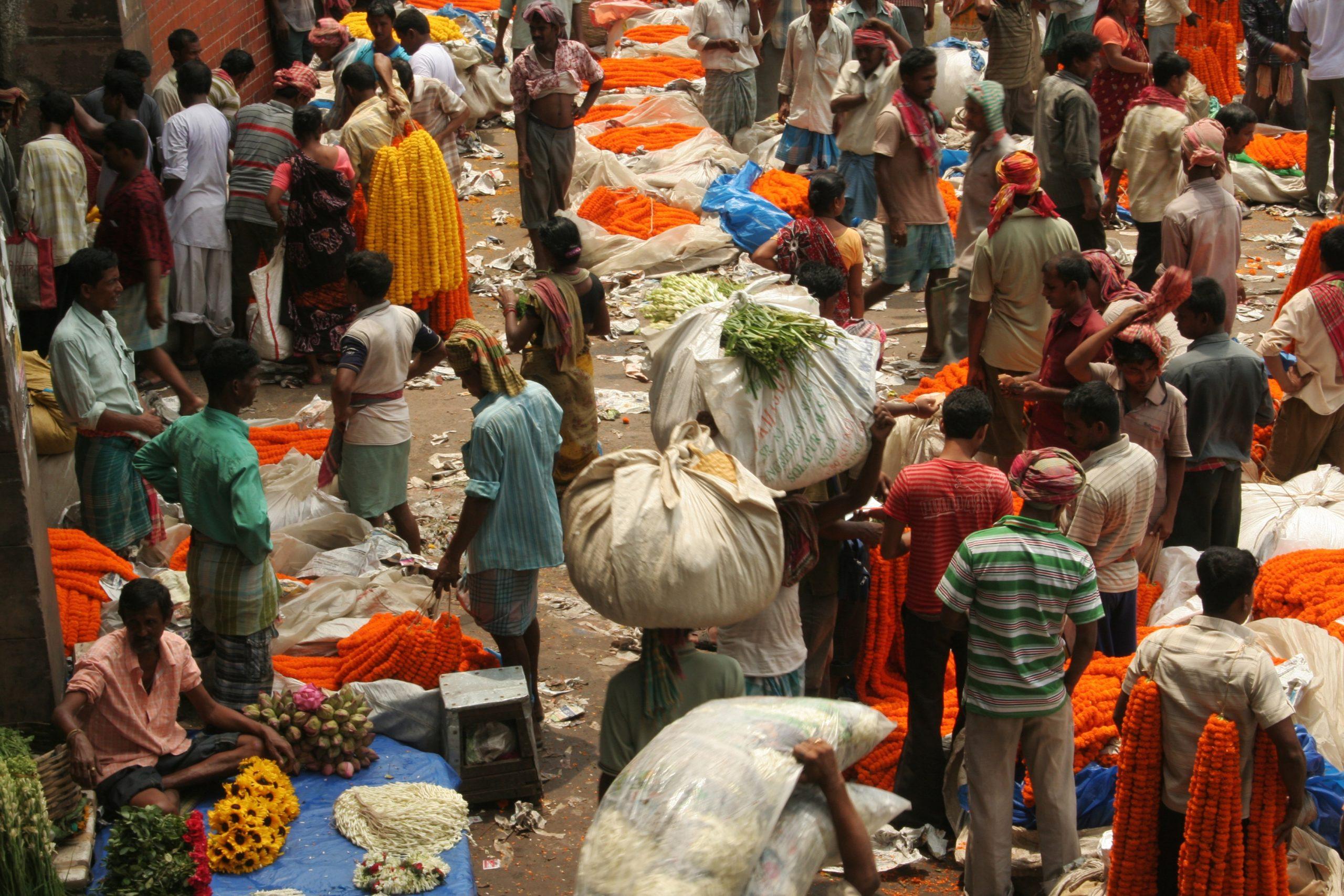 A crowded flower market