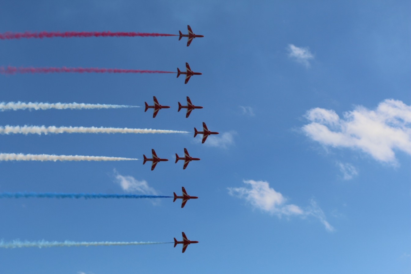 planes flying in formation-team