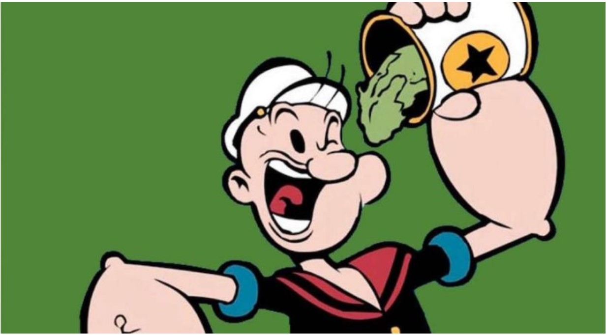 popeye eating spinach-strength