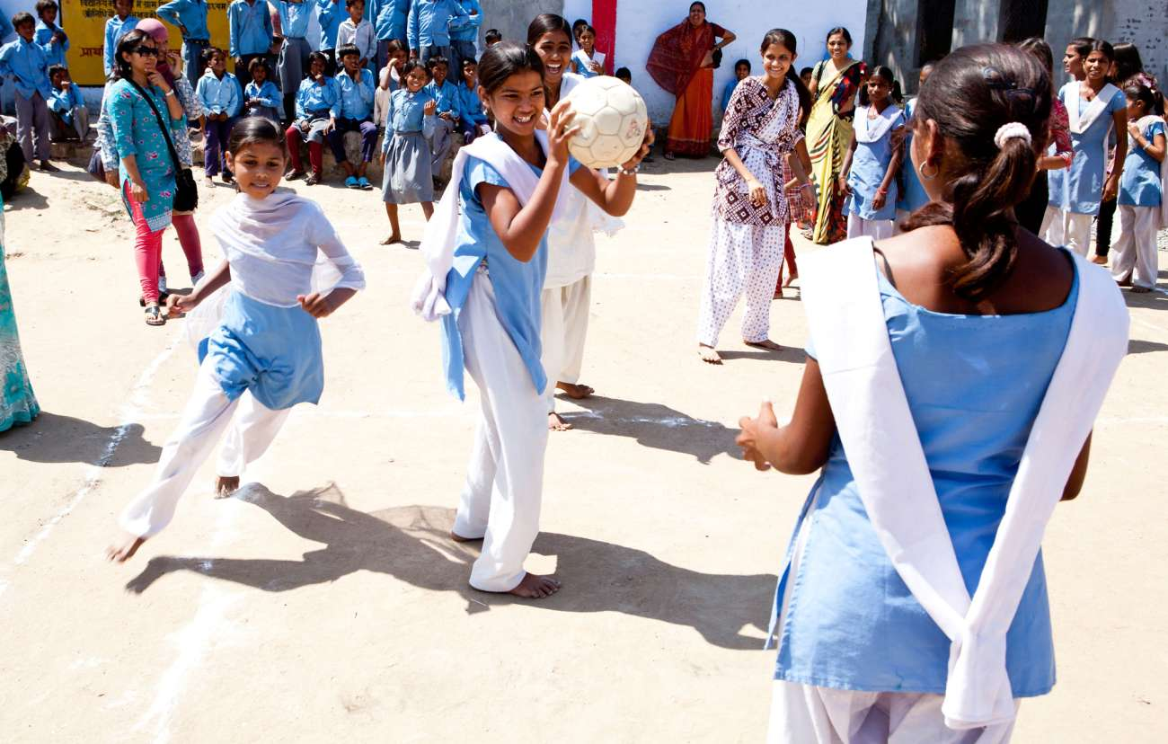 schoolgirls playing ball_CAnderson_menstrual health