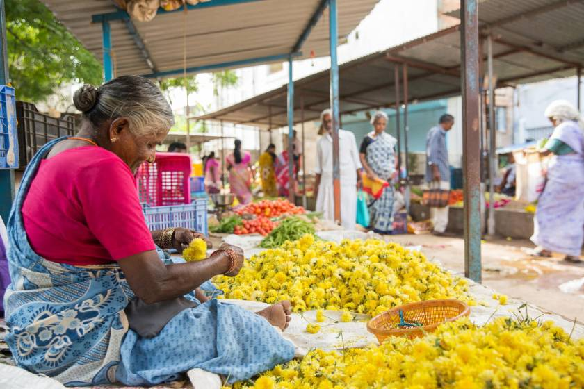 woman flower vendor at a market in Vellore