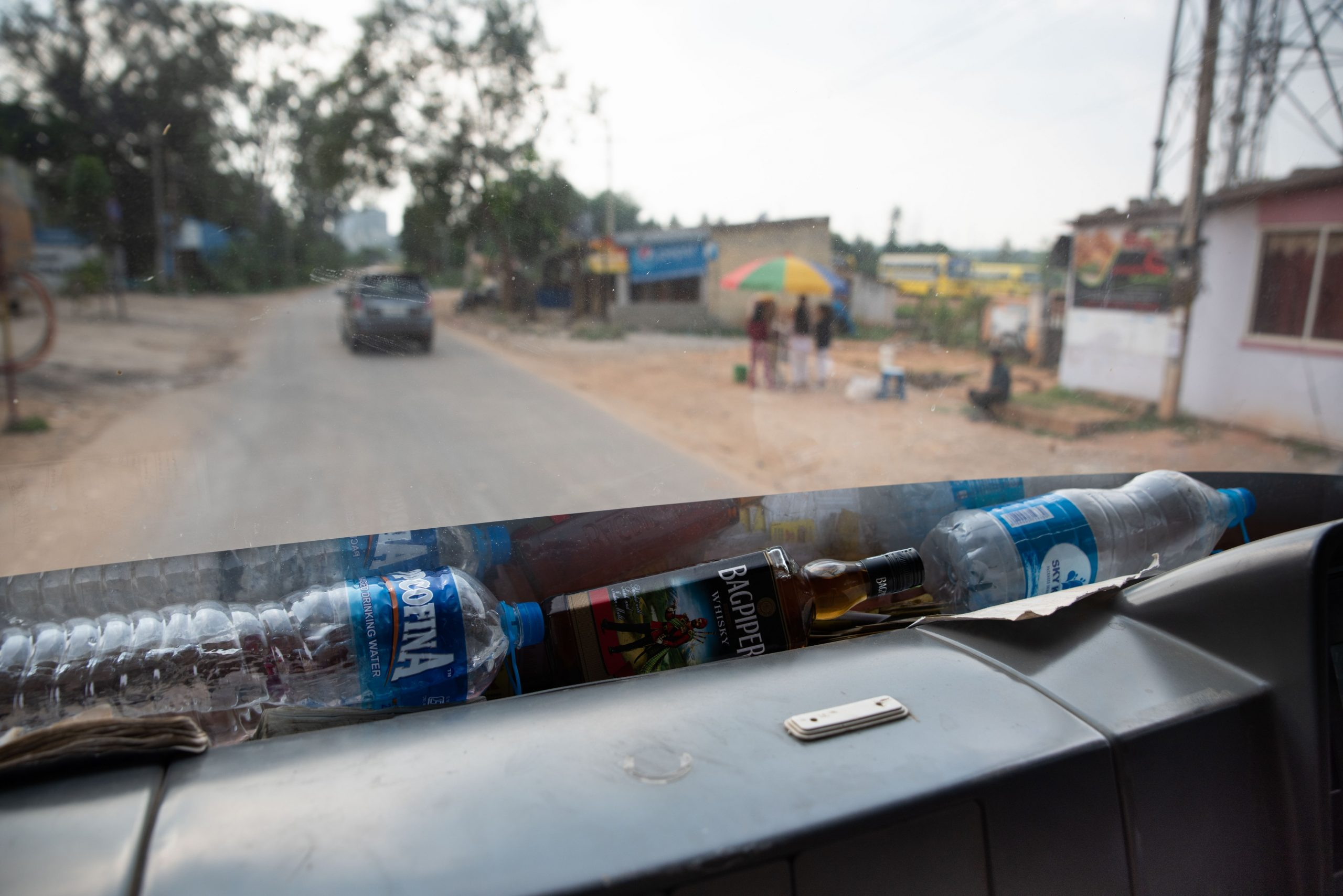 Alcohol on the front of a truck_sanitation workers_epw