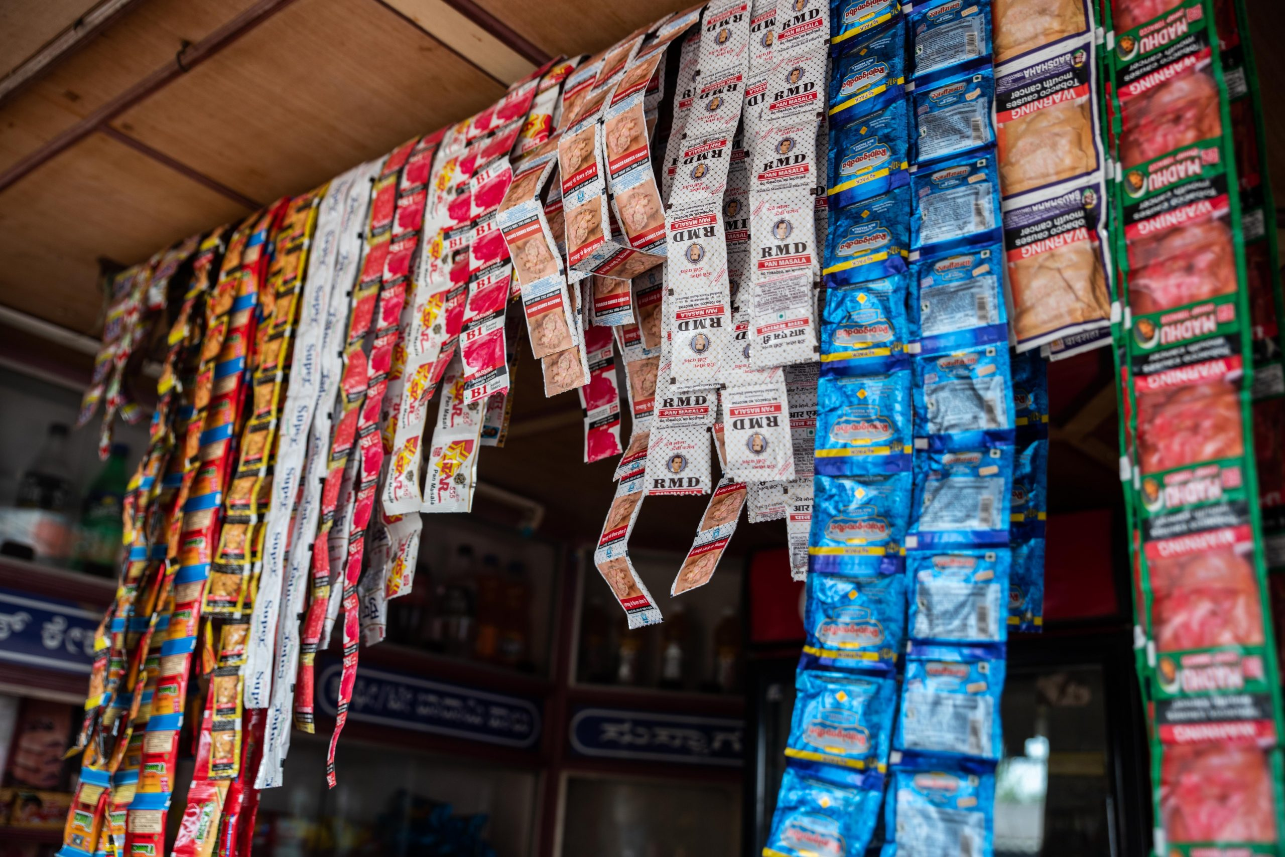 Packets of gutka at a pan shop_sanitation workers_epw
