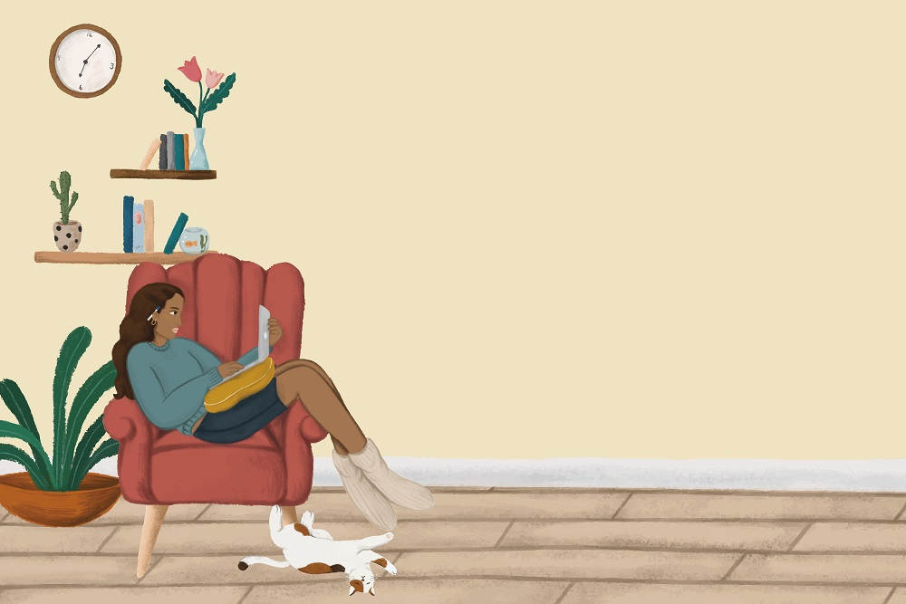 A woman sitting in an armchair, looking at her laptop_graphic_Rawpixel