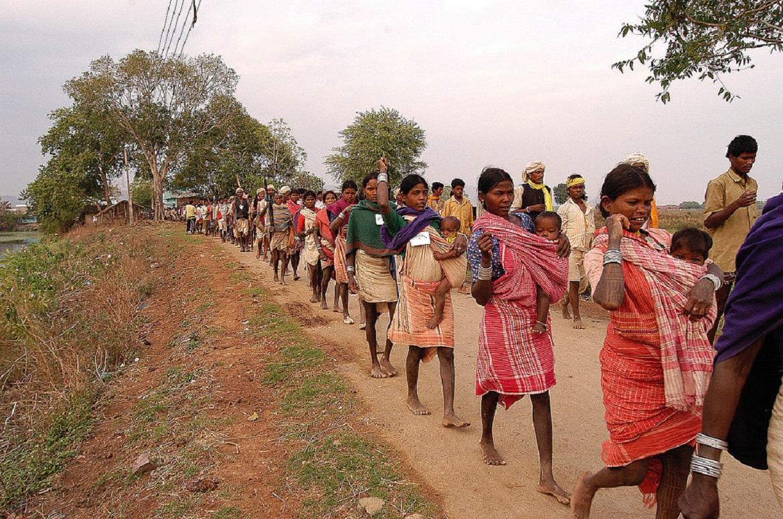 Baiga Adivasi in protest walk in India-adivasi