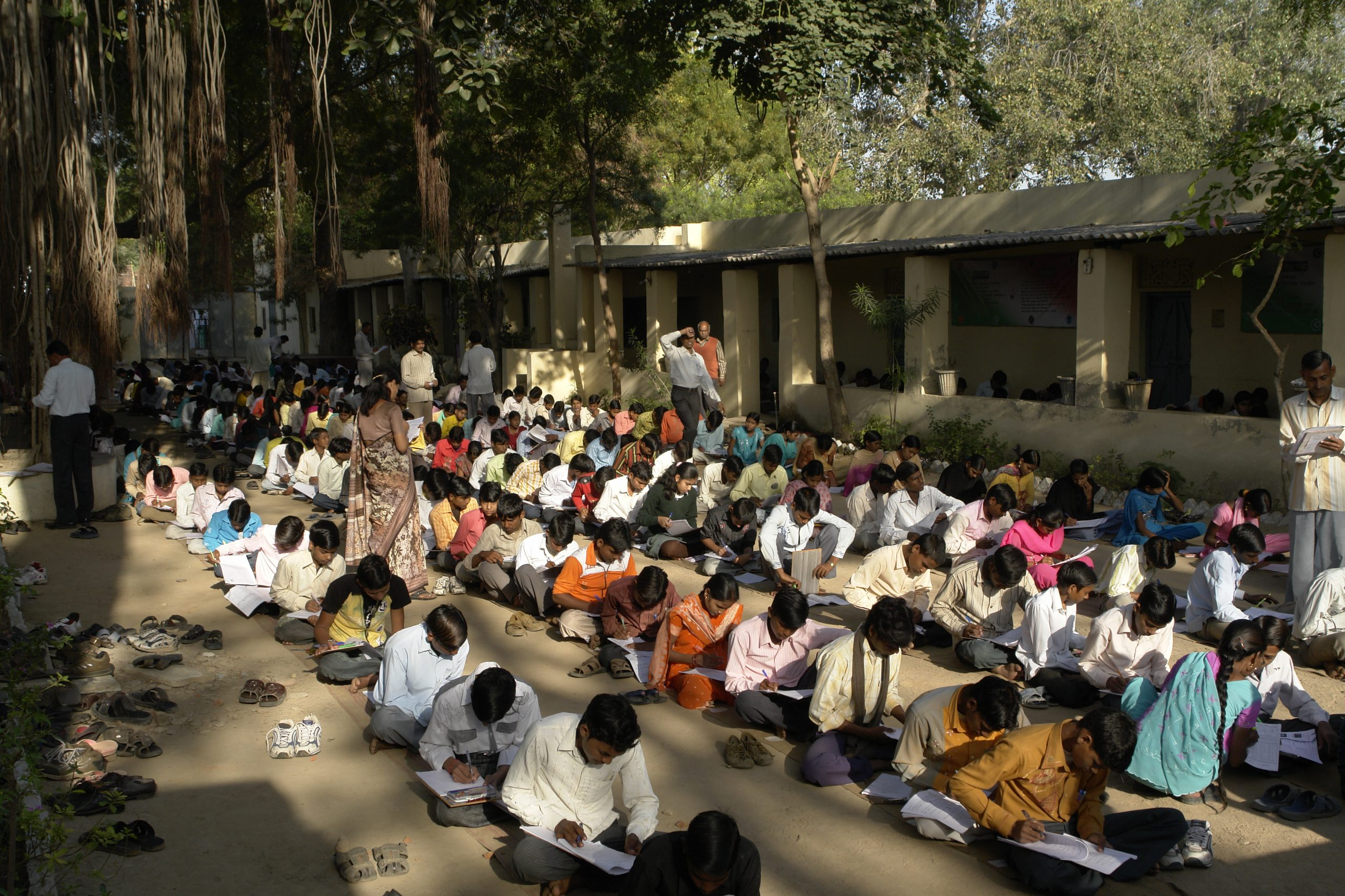 Children giving exams in Jaura, India_Right to Education RTE_No Detention Policy