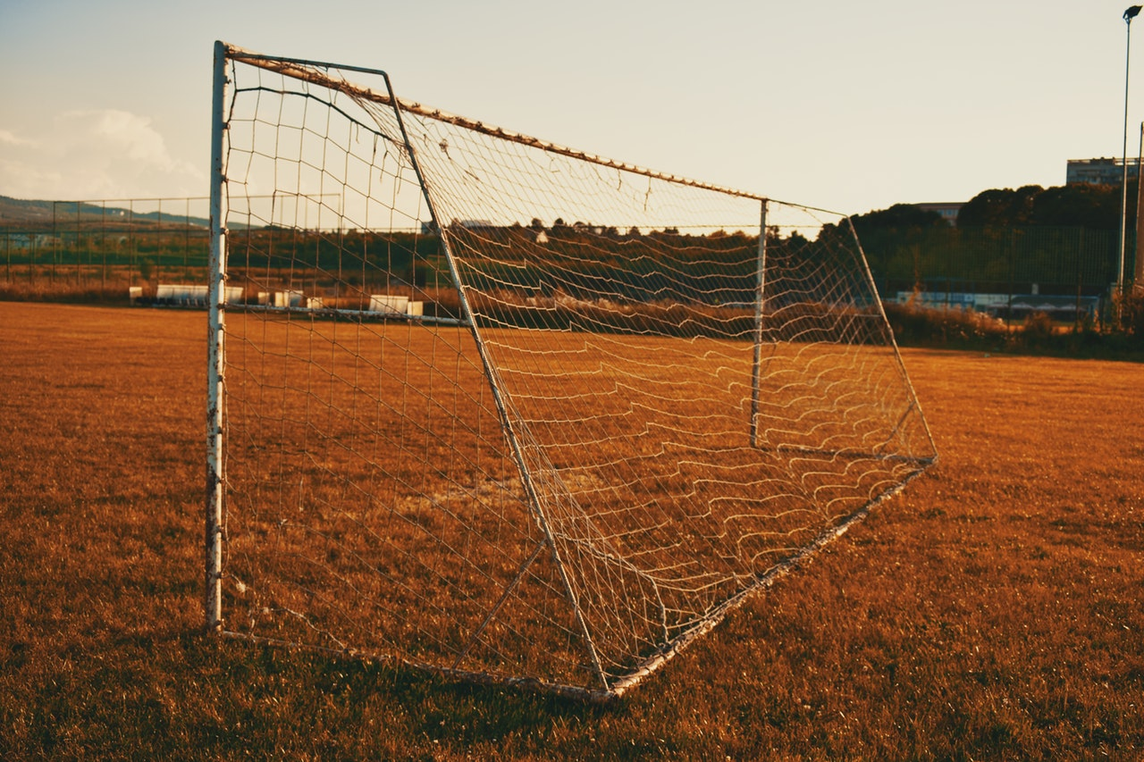 Goal post on a field