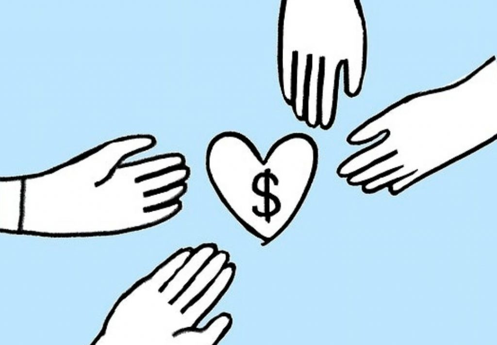 illustration of hands coming together around a heart-philanthropy