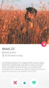Fake tinder profile fieldworker India