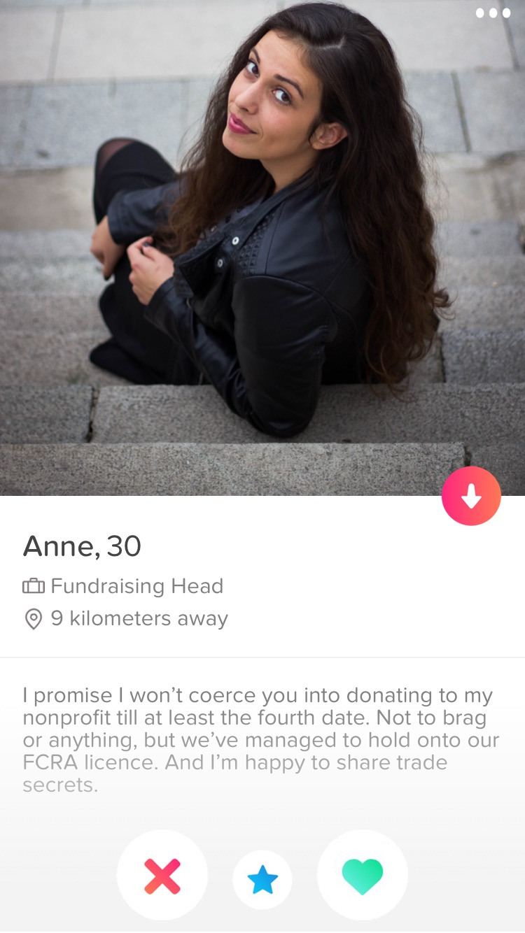 Fake Tinder profile fundraising head