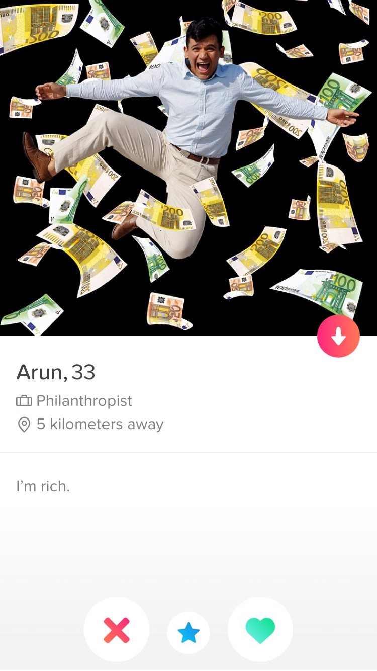 Fake tinder profile philanthropist
