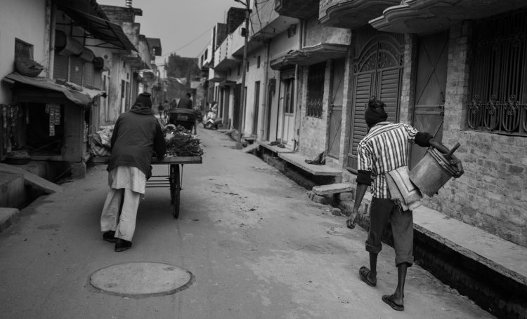 men walking on road