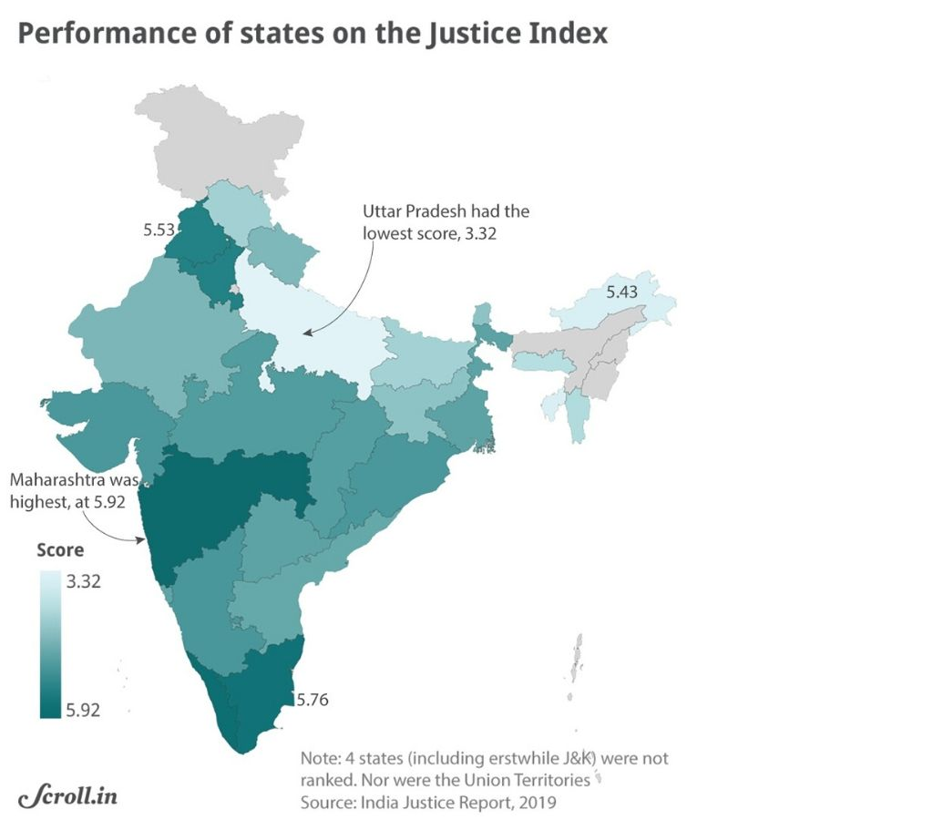 map-Performance of states on the justice index-justice