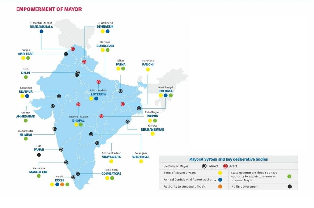 map of india with power of mayors-local government