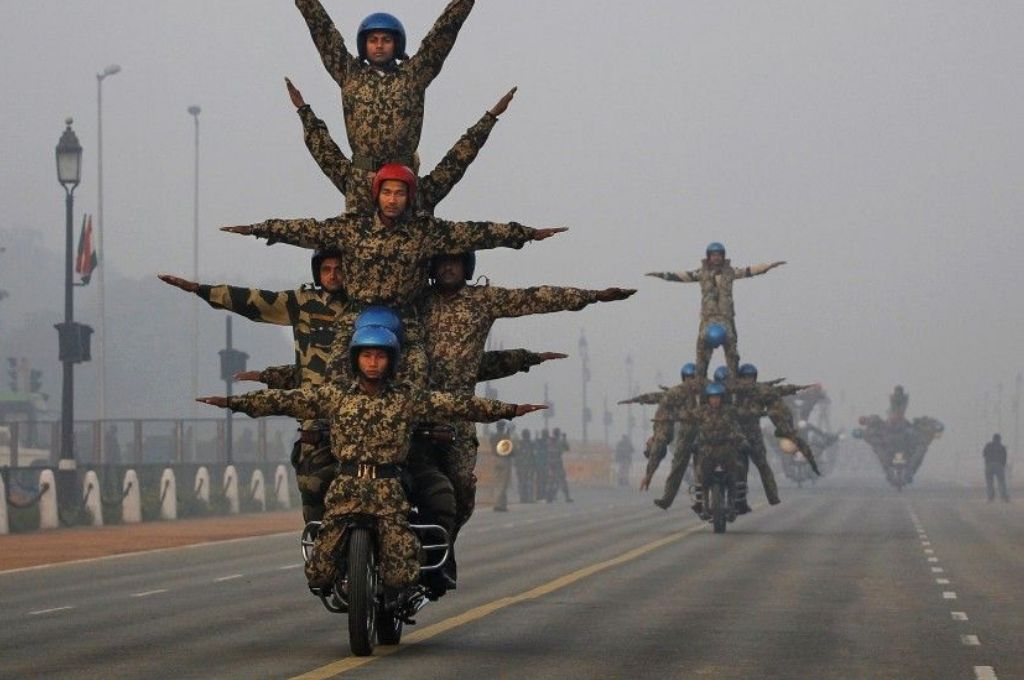 Soldiers performing stunts on a bike-Republic Day