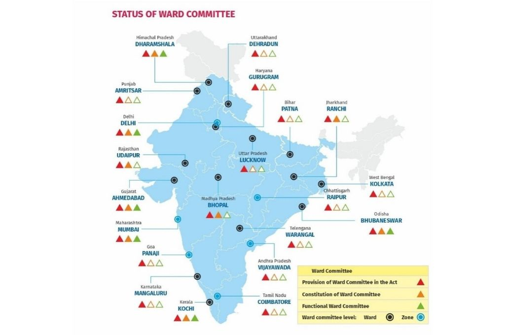 map showing status of ward committes in India-local goverment
