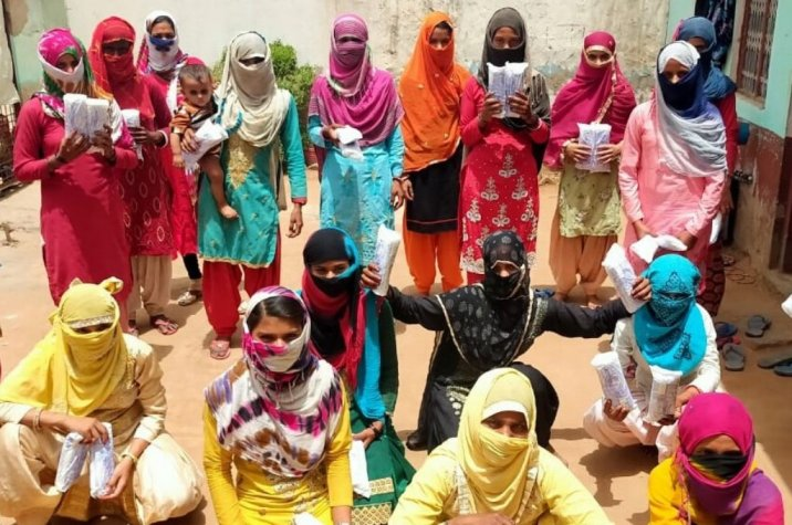group of women collecting sanitary pads-leadership