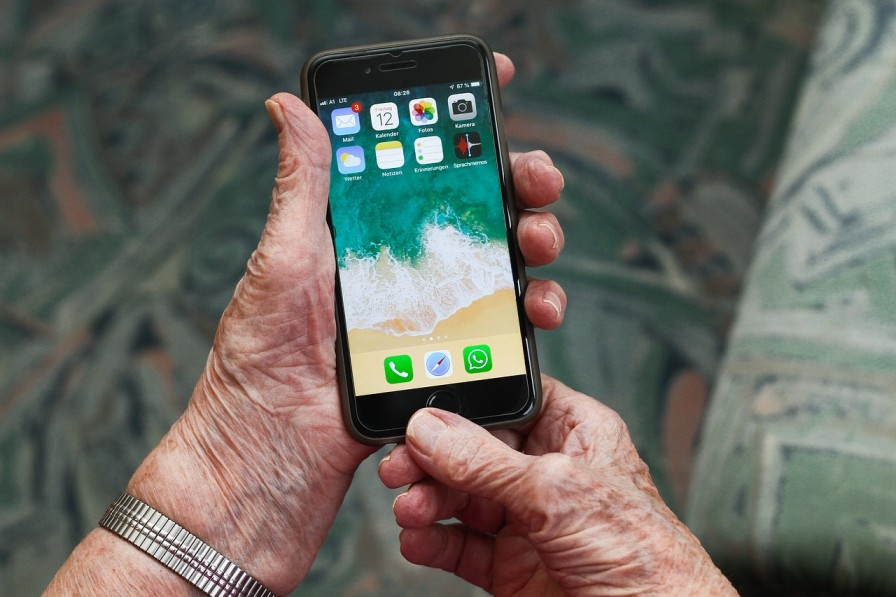 old person on iphone-COVID-19-community communication-Picture courtesy: Pixabay