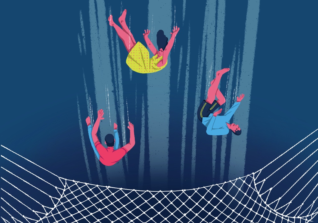 People fallling into a net Illustration_mental health