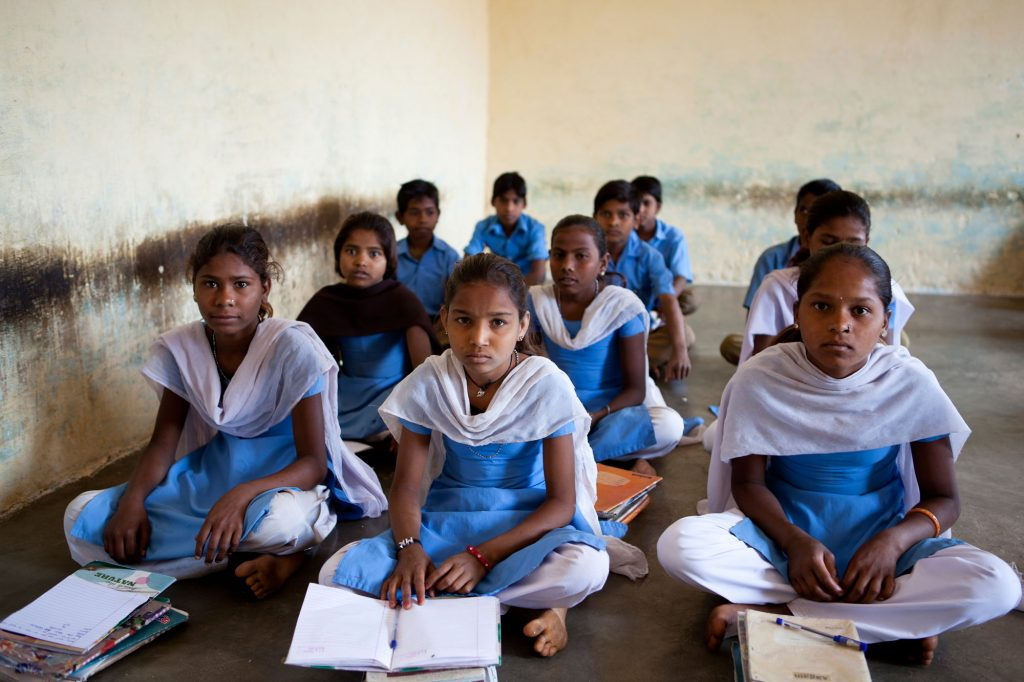 Primary school student girls in a classroom in Rajasthan-DIBs
