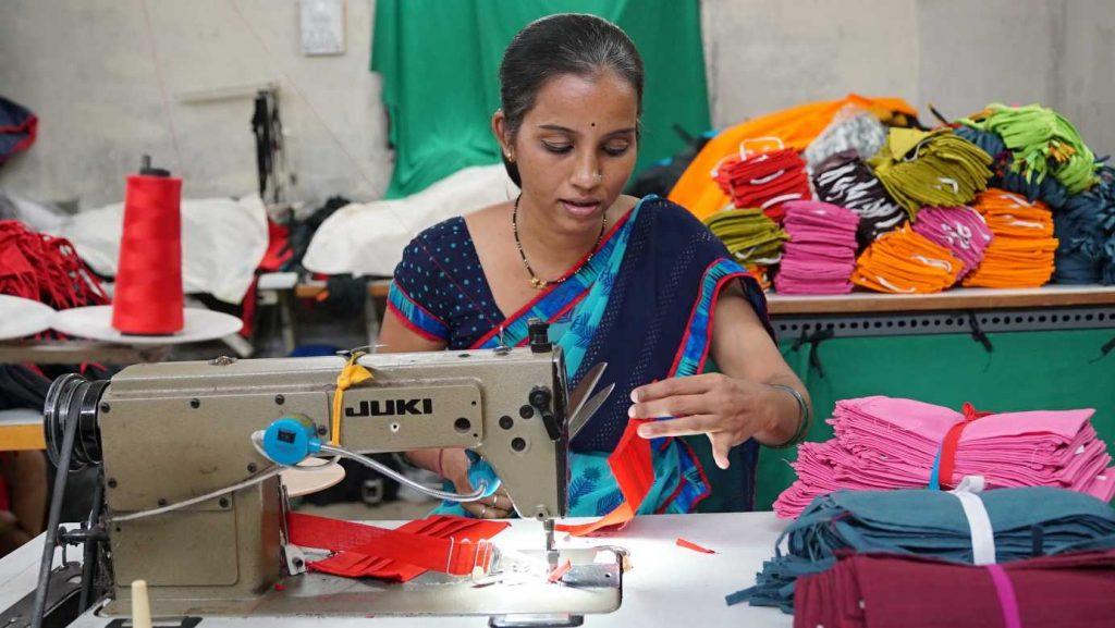 Roopali Pavnikar in her factory-women entrepreneurs