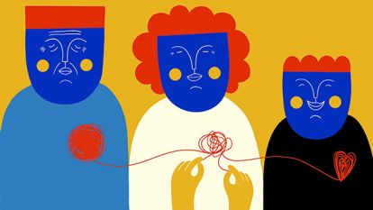Illustration showing three people with their hearts tied with a thread_Helena Pallarés_social change