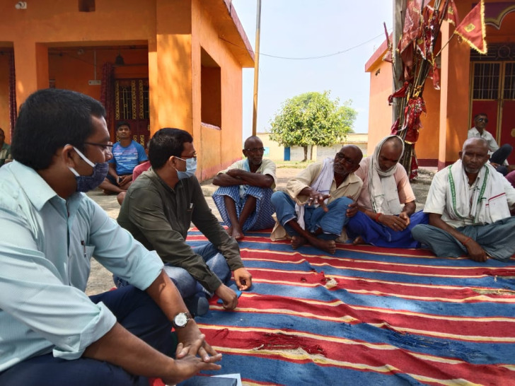 Kamakhya Kumar attending a panchayat meeting