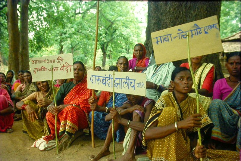 Women in Gadchiroli, India protesting alcohol and tobacco